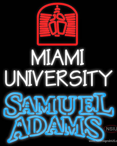 Samuel Adams Double Line Miami UNIVERSITY Real Neon Glass Tube Neon Sign