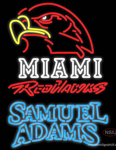 Samuel Adams Double Line Miami UNIVERSITY Redhawks Real Neon Glass Tube Neon Sign