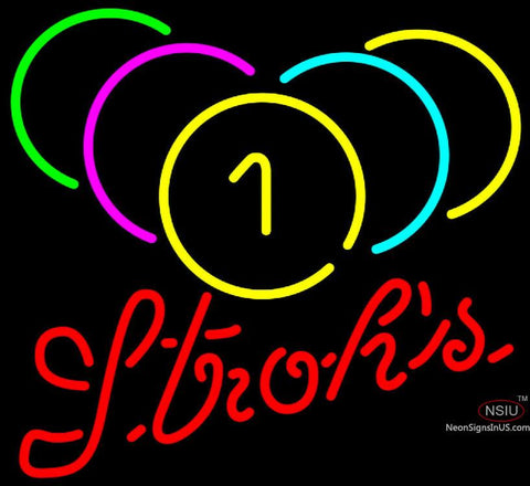 Strohs Billiards Rack Pool Neon Sign