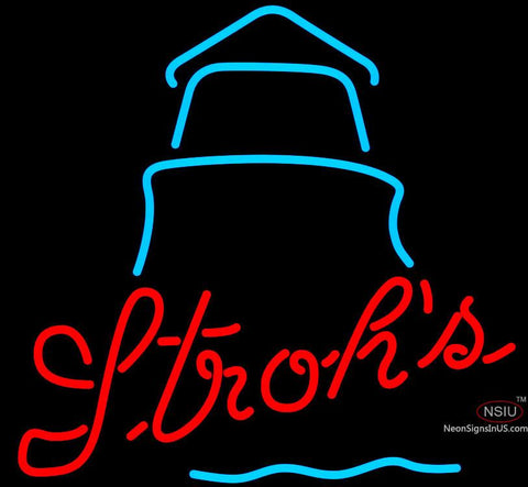 Strohs Day Lighthouse Neon Beer Sign