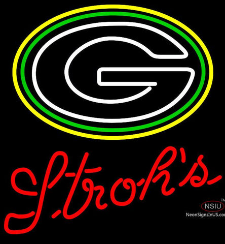 Strohs Green Bay Packers NFL Beer Neon Sign