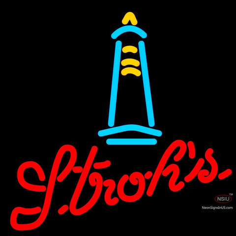 Strohs Lighthouse Neon Beer Sign x