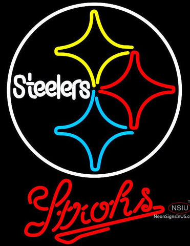 Strohs Pittsburgh Steelers NFL Beer Neon Sign