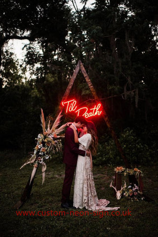 Till Death Red Color Wedding Home Deco Neon Sign