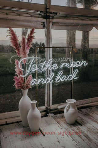 To The Moon And Back White Color Wedding Home Deco Neon Sign