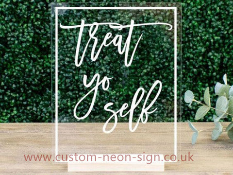 Treat You Self Wedding Home Deco Neon Sign