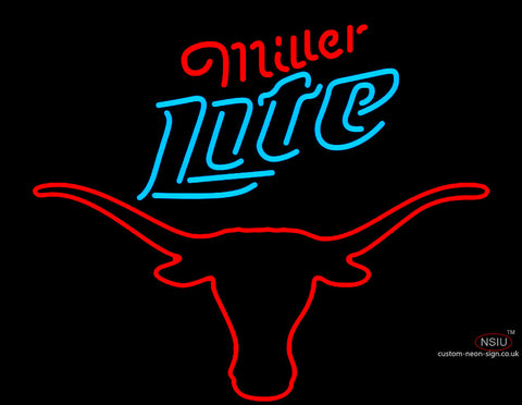 Tx Longhorn Emblem With Miller Light Logo Neon Sign