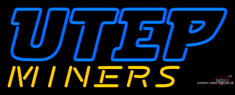 Utep Miners Wordmark  Pres Logo Ncaa Neon Sign
