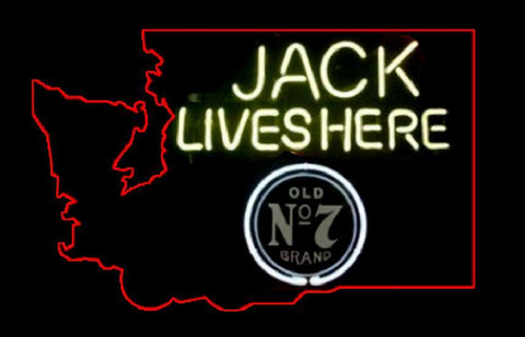 Professional Jack Lives Here Washington state neon sign