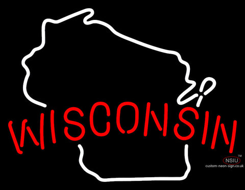 Wisconsin Map Neon Sign
