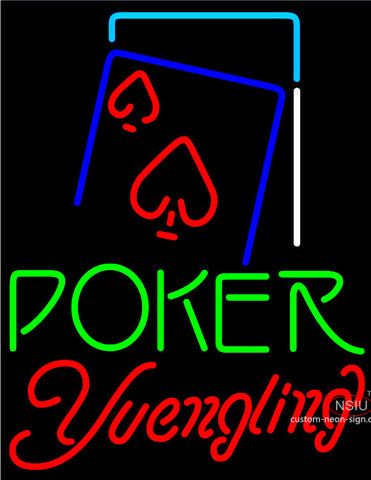 Yuengling Green Poker Red Heart Neon Sign