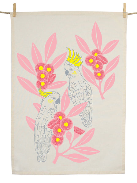 Organic Cotton Silver Gum Cockatoos Tea Towel
