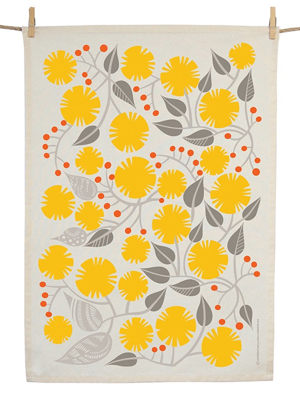 Organic Cotton Golden Wattle Tea Towel