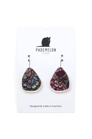 Acrylic Earrings Multi Floral Fabric