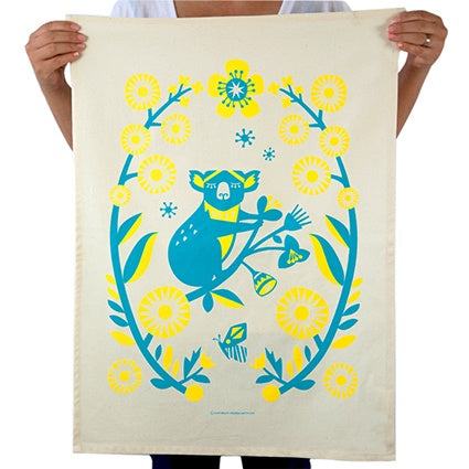 Organic Cotton Outback Koala Tea Towel