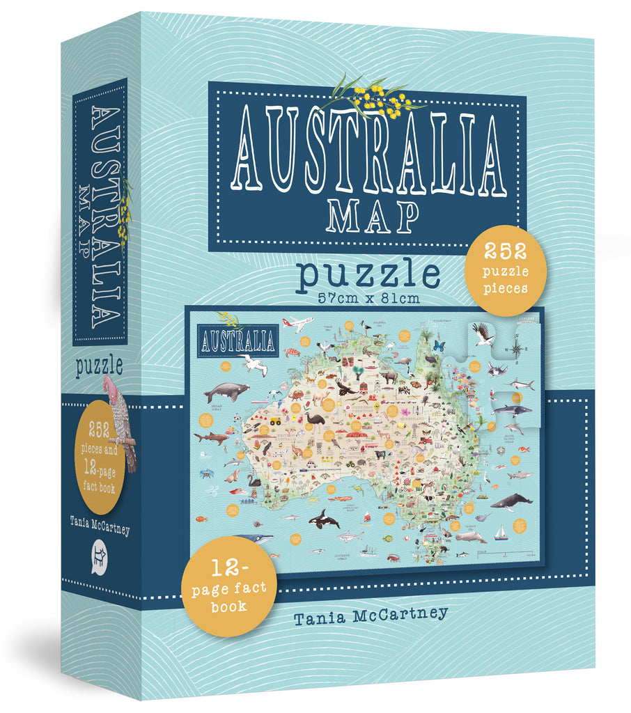 Australia Map 252 Piece Puzzle Includes 12 Page Fact Book