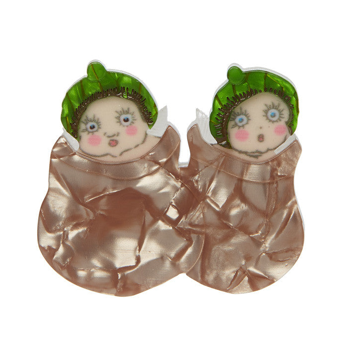 Erstwilder Snugglepot and Cuddlepie Brooch - May Gibbs Collection