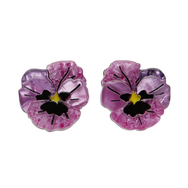 Erstwilder On Sleeping Eyelids Pansy Earrings