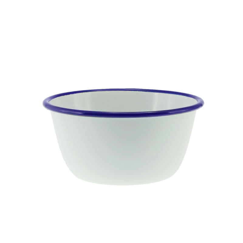 Pudding Basin White with Blue Rim