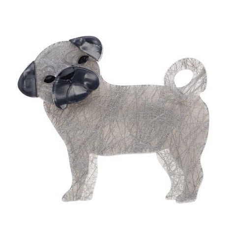 Pebbles The Pug Brooch Grey