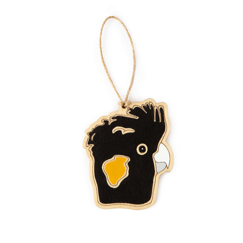 Yellow-Tailed Black Cockatoo Ornament