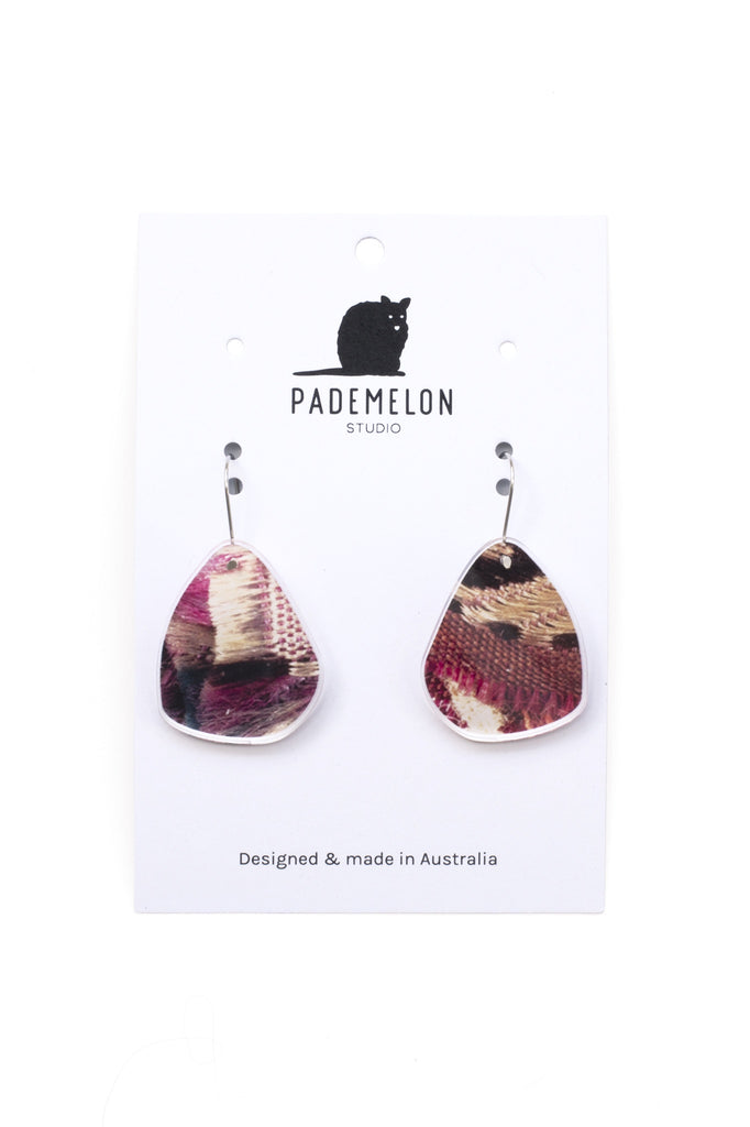 Acrylic Earrings Frayed Edges Fabric