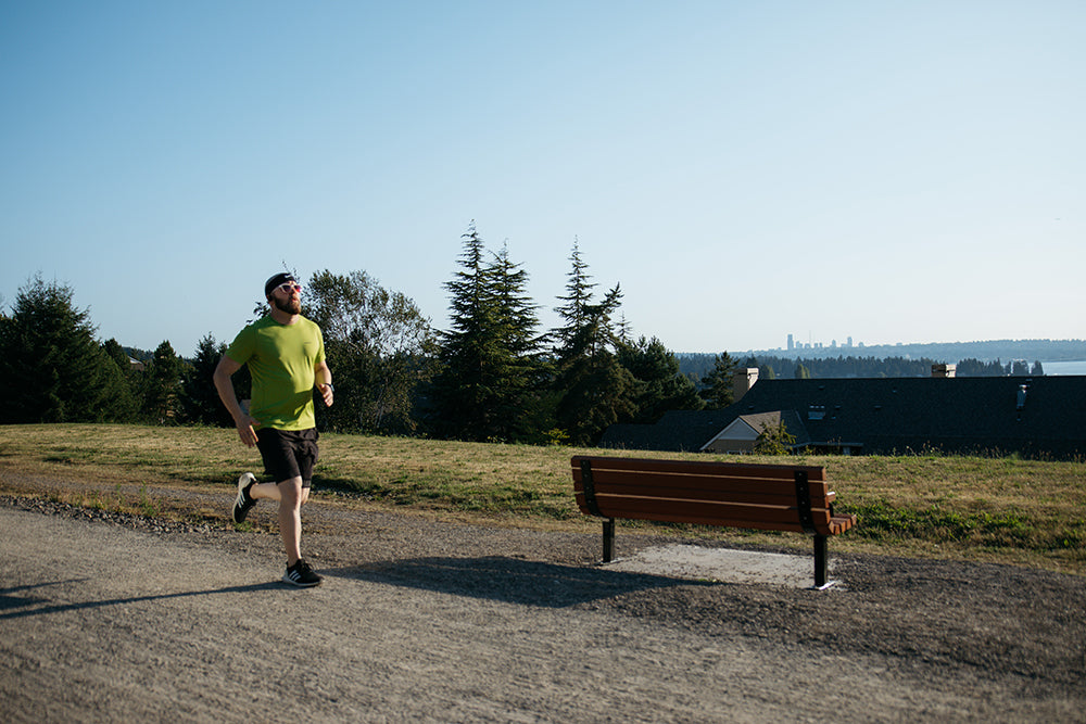Man running on a path in Seattle