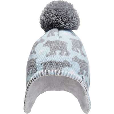 Pale Blue/Mid Grey Bear Print