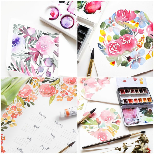 Watercolour floral art workshop Sydney