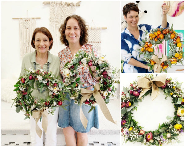 floral Christmas Wreath Workshop Sydney