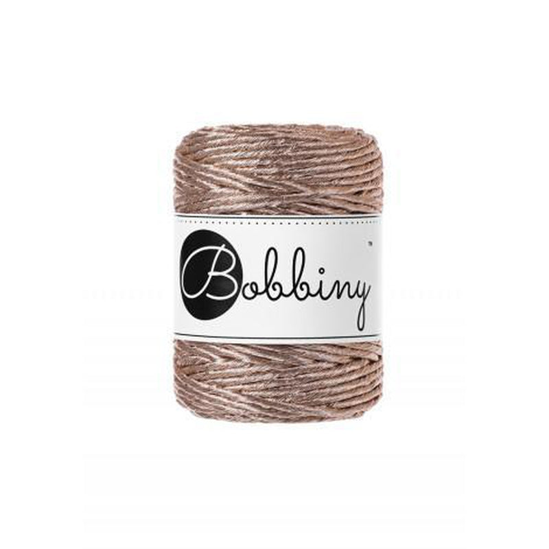 Bobbiny Metallic Champagne Cord 3mm-Macrame-Little Lane Workshops