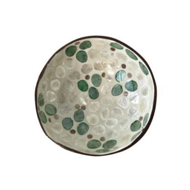 Coconut Bowl - Green Spots & Mother of Pearl-Homewares-Little Lane Workshops