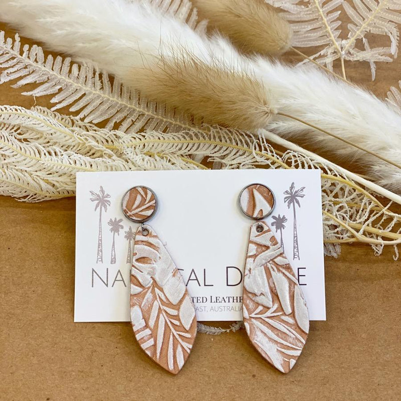 Hand Tooled Leather Earrings - Sandy Cape White Pointed Tip-Little Lane