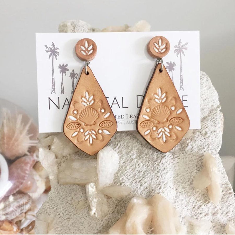 Hand Tooled Leather Earrings - Sandy Cape White Pointed Tip
