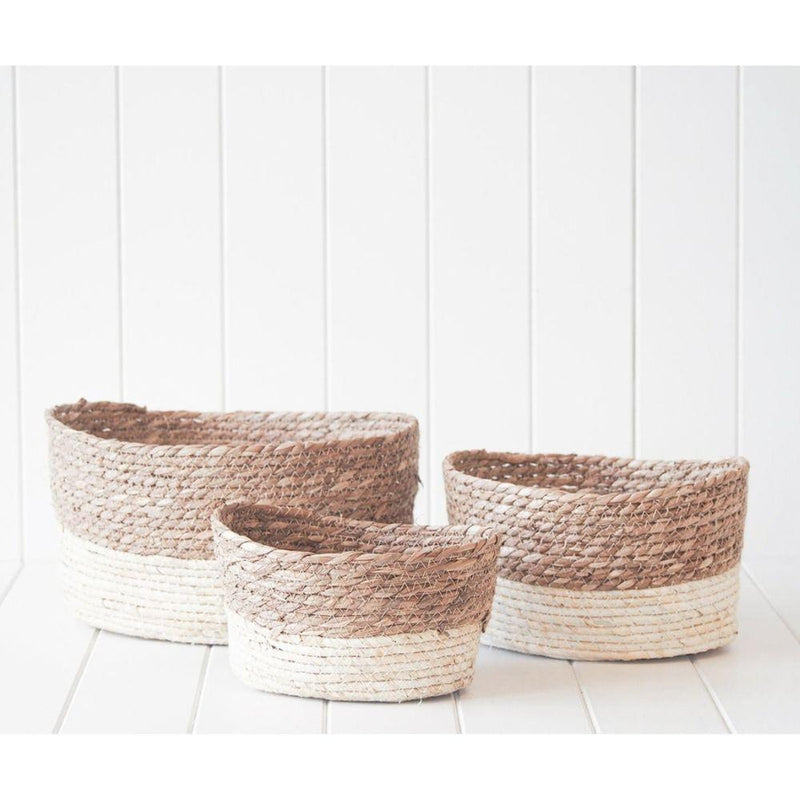 Madara 2 Tone Natural Basket Set of 3-Little Lane