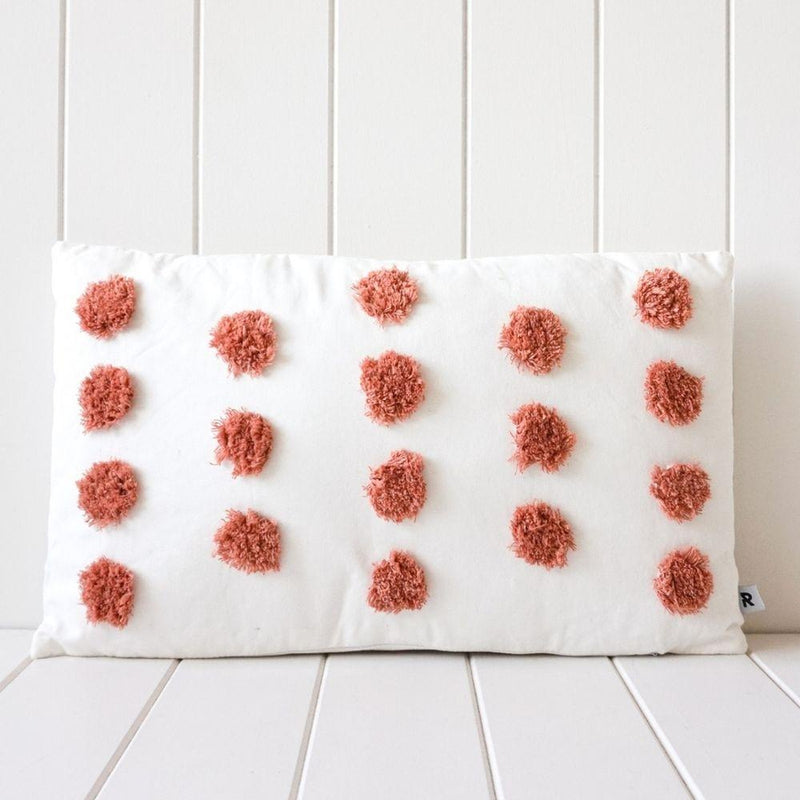 Tufted Dotty Cushion - Rust-Little Lane