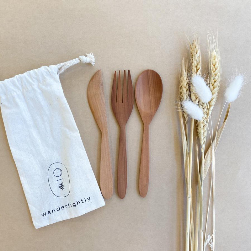 Wooden Reusable Cutlery Set-Homewares-Little Lane Workshops