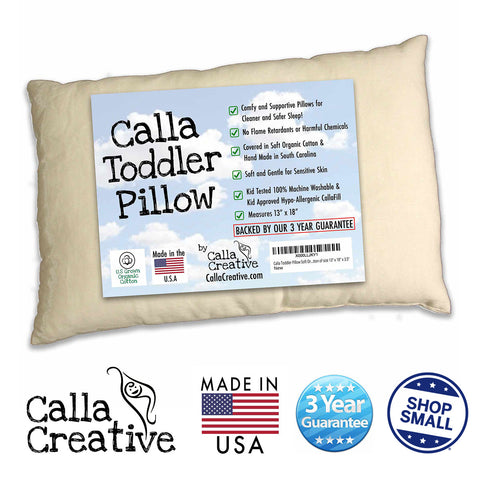 "13""x18"" Organic Toddler Pillow by Calla Creative- 100% Cotton Machine Washable - Hypoallergenic - No Clump No Flat Filling + 3 Year Guarantee - For Sleeping Naps Travel Daycare and Toddlers First Bed"