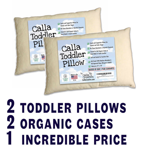 Toddler Pillow + Organic Cotton Case (Two Pack)
