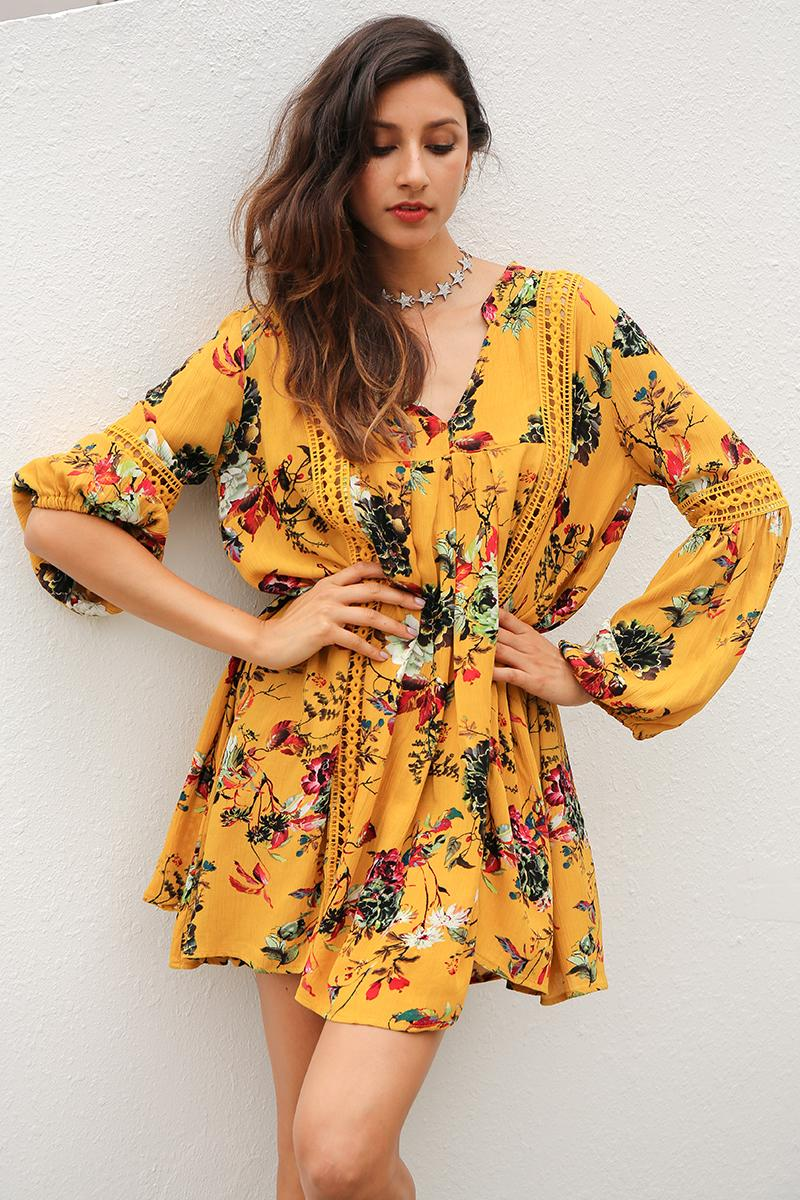 Yellow Vintage Boho Mini Dress - BEHIND HEMLINES