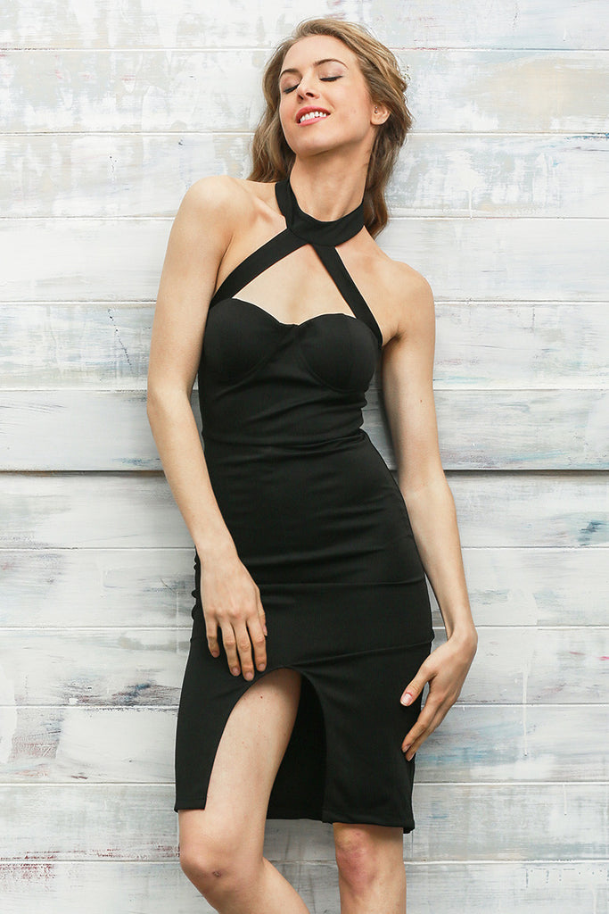 Halter Front Split Bandeau Dress