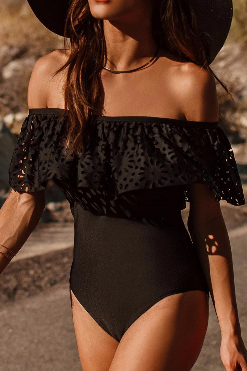 Off Shoulder Eyelet Monokini - BEHIND HEMLINES