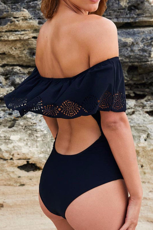 Off Shoulder Cutout Back Monokini - BEHIND HEMLINES