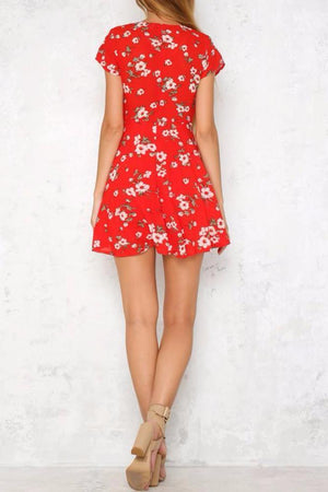 Red Floral Wrap Dress - BEHIND HEMLINES
