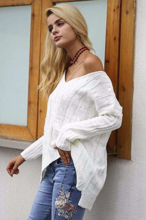White Crisscross Back High-Low Sweater