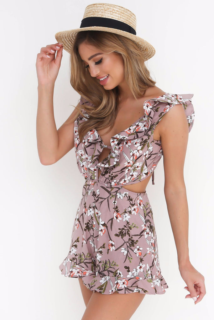 Pink Ruffle Plunge Neck Tropical Playsuit