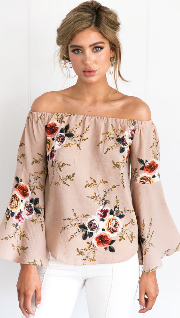 Beige Off Shoulder Floral Blouse