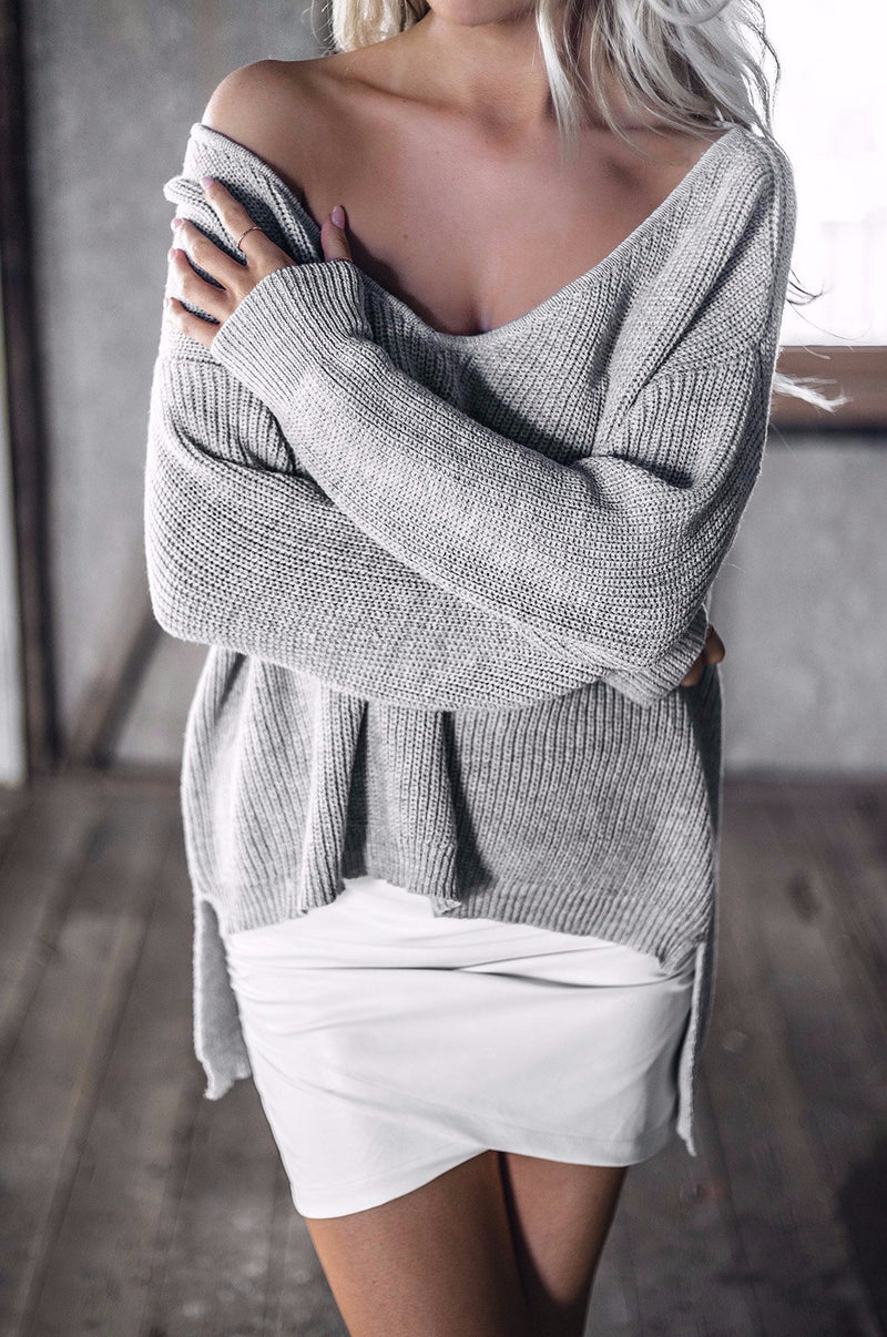 Grey V-Neck Knitted Pullover - BEHIND HEMLINES