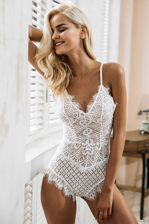 Crossed Back Lace Bodysuit - BEHIND HEMLINES