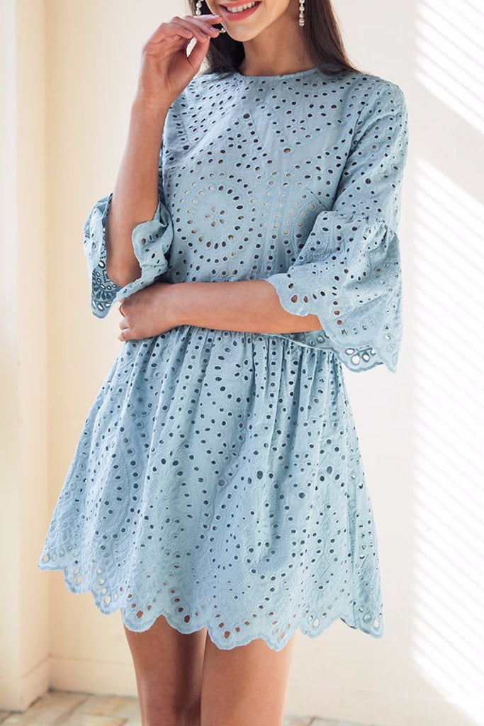 Eyelet Scallop-Hem Dress